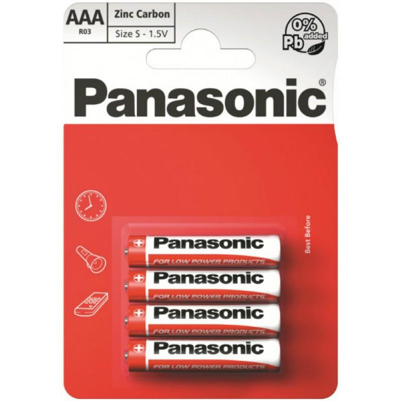Батарейка Panasonic R3/ААA Zinc Carbon 1.5 V блистер - 4шт. упаковка - 48шт.