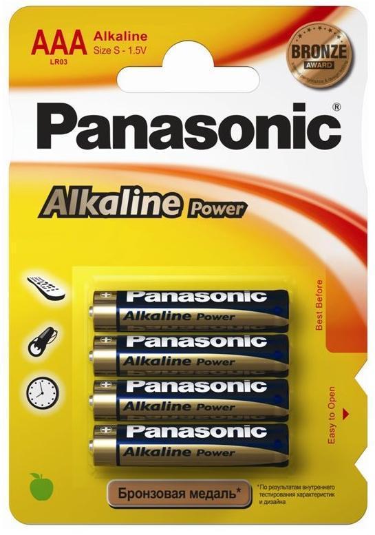 Батарейки Panasonic Alkaline AAA/LR03, блистр - 4штук, Упаковка - 48штук.