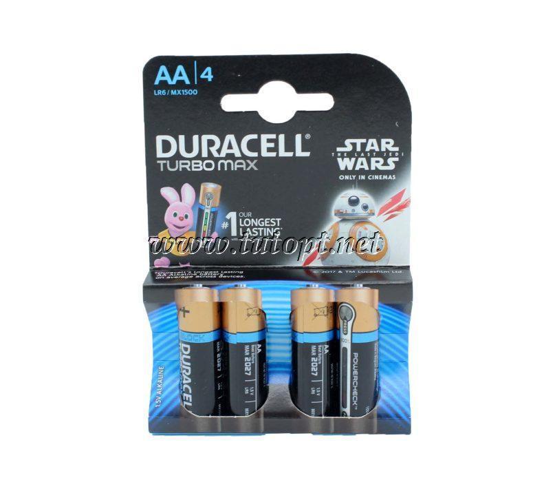 Щелочные батарейки DURAСELL Turbo MAX R6/AA 1.5V LR6  блистер - 4шт.
