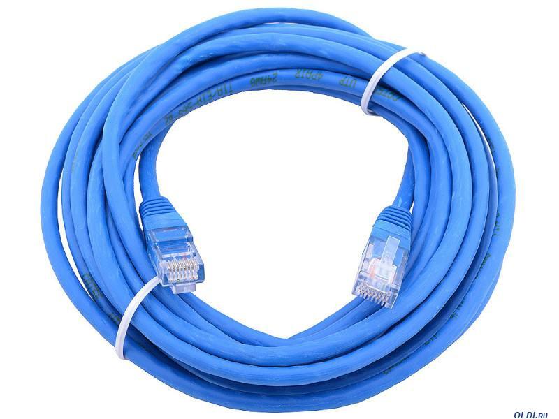 Сетевой кабель JXD 10 метра UTP 4, литой patch cord синий