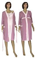 Ночная рубашка и халат для беременных и кормящих 19004 Amarilis коттон Лилово-розовый