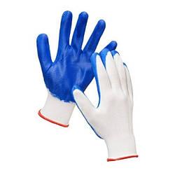 Перчатки рабочие стрейчевые синие, в упаковке 12 пар в мешке 600 пар