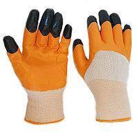 Перчатки Рабочие Нейлоновые стретч с ПВХ покрытием (чёрные пальцы) в упаковке 12 пар