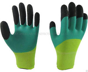 Перчатки Рабочие Нейлоновые стретч с ПВХ покрытием 300#(Зеленый) в упаковке 12 пар