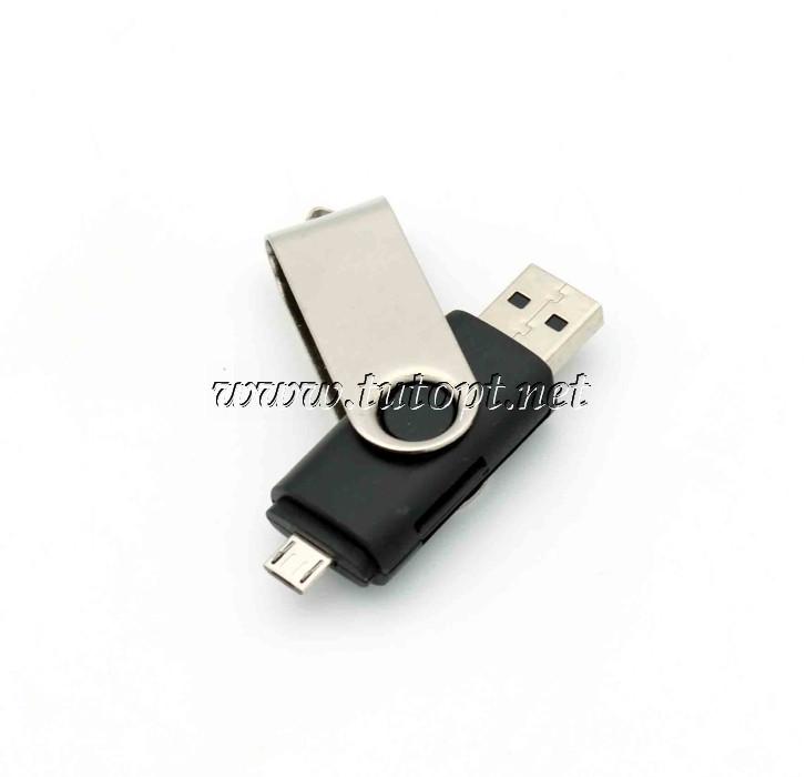 Мини карт-ридер OTG 2 в 1 Smart OTG Microsd, MicroUSB, USB входа