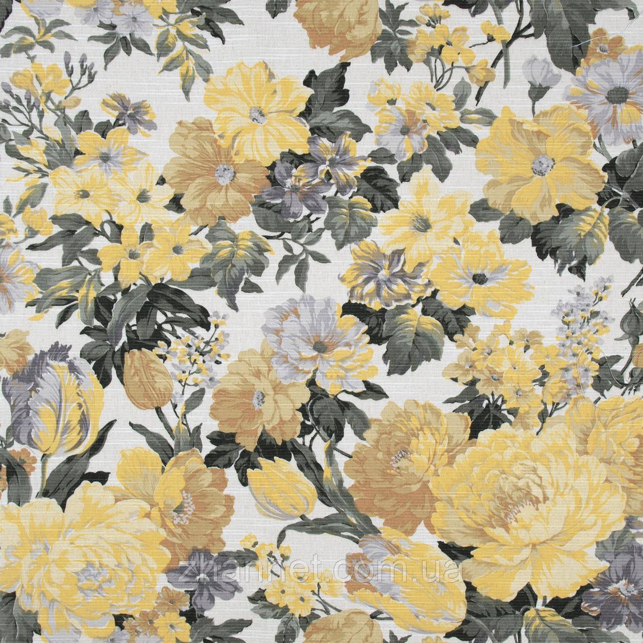 Ткань для штор Daitura крупный цветок желтый (437461)