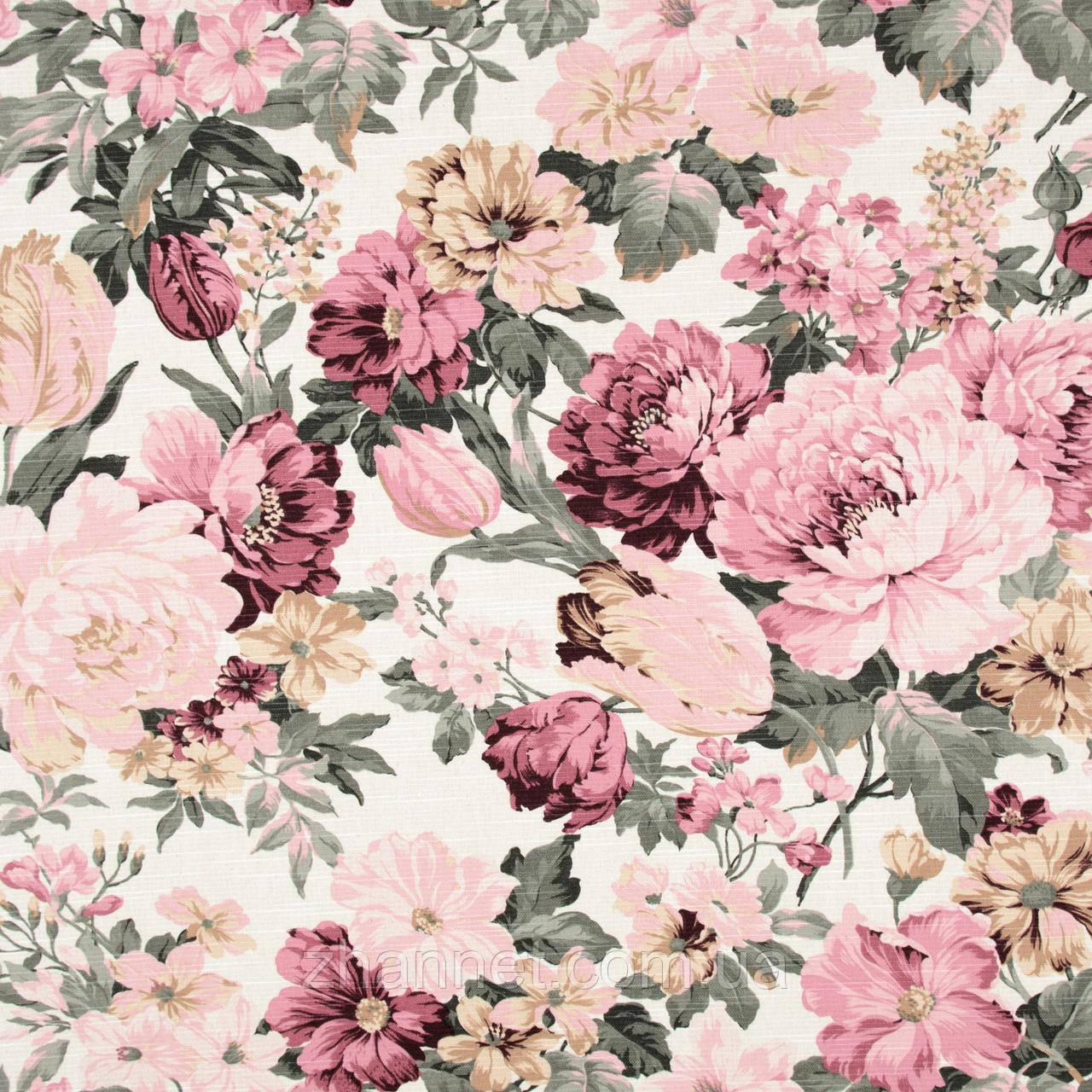 Ткань для штор Daitura крупный цветок фрез (417461)