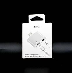 Кабель-переходник 2 в 1 для подключения наушников и зарядки iPhone KY-168