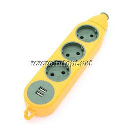 """Колодка """"Advanced"""" під подовжувач 6 гнізд + USB 16А-220V"""