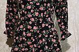 Модное летнее шифоновое платье в цветах с поясом.Модне літнє шифонове плаття в квітах з поясом., фото 7