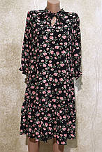 Модное летнее шифоновое платье в цветах с поясом.Модне літнє шифонове плаття в квітах з поясом.