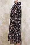 Модное летнее шифоновое платье в цветах с поясом.Модне літнє шифонове плаття в квітах з поясом., фото 2