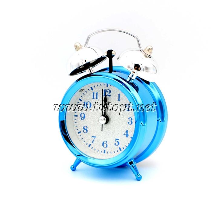 Часы - Будильник колокольчик 1904-1 Синий 10*7*5