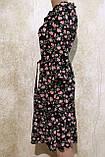 Модное летнее шифоновое платье в цветах с поясом.Модне літнє шифонове плаття в квітах з поясом., фото 8