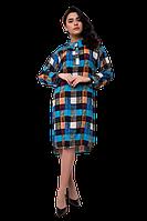Платье-рубашка в клетку прямого кроя больших размеров C2008S-5 голубое