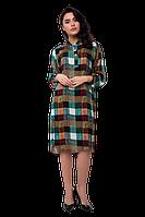 Платье рубашка в клетку прямого кроя из вискозы многоцветное casual C2008S-9