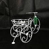 Подставка для цветов кованая Велосипед на 1 вазон мини белый І Цветочная подставка, фото 3