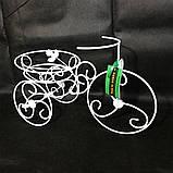 Подставка для цветов кованая Велосипед на 1 вазон мини белый І Цветочная подставка, фото 4