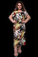 Летнее свободное платье миди больших размеров с цветочным принтом C5300S-2 черное