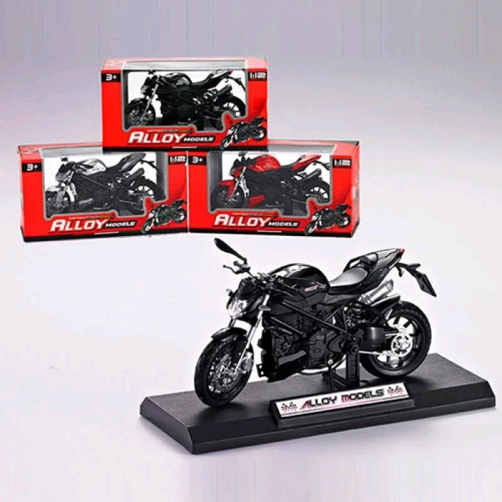 Мотоцикл HX793 металл 1:12 17см на підставці 3кольори в коробці 23-11 5-9см
