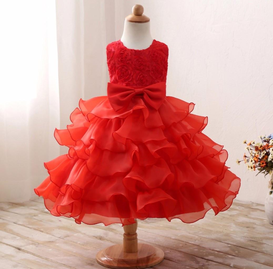 Платье красное бальное выпускное нарядное для девочки в садик или школу за колено.