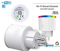 16 ампер Розумна Wi-Fi розетка RGB-підсвічування, лічильник споживаної потужності, дистанційне керування