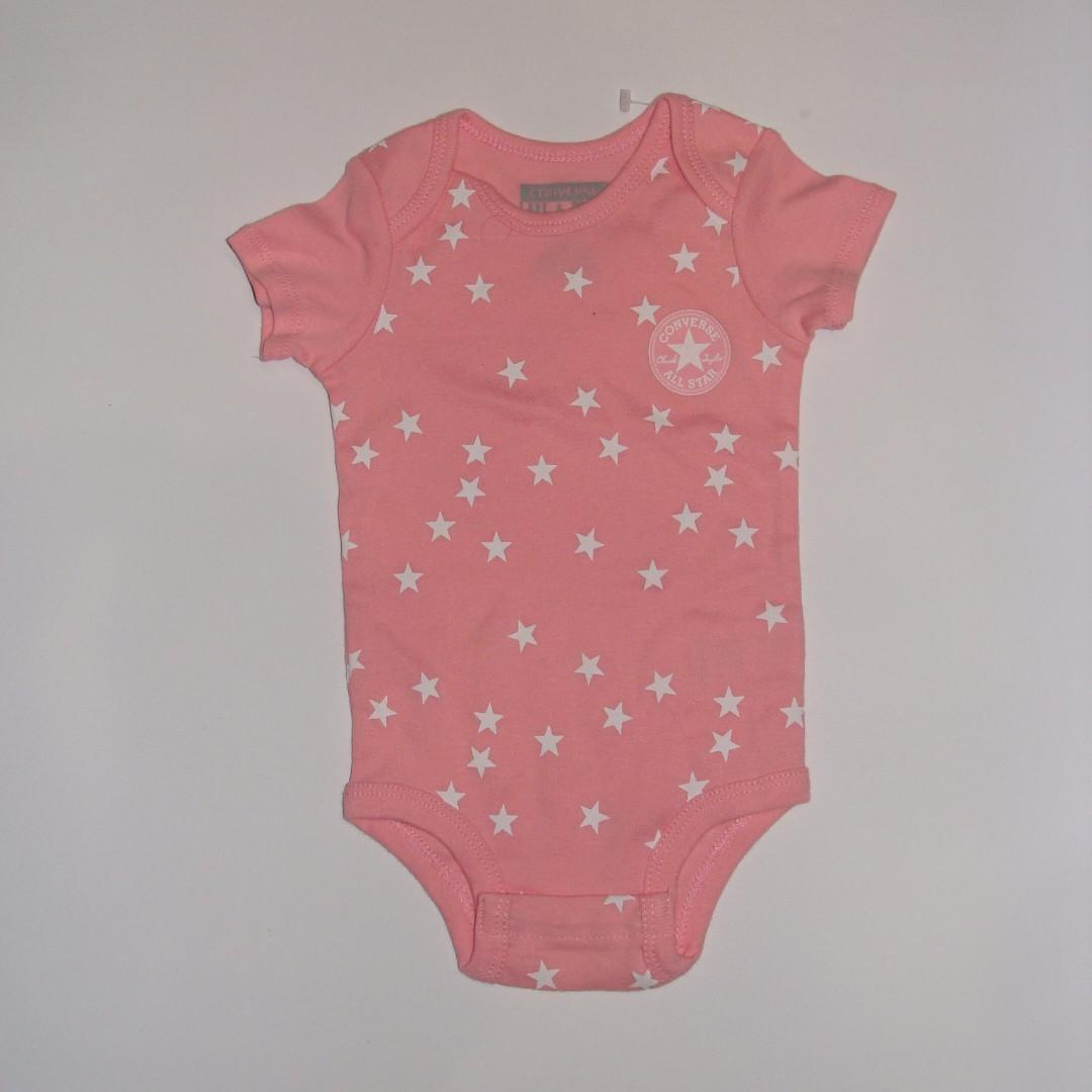 Боди для новорожденных короткий рукав розовый в звезды Converse р.0-6мес (70см)
