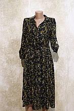 Стильное летнее платье-рубашка в растительных узорах и цветах. Літнє плаття-рубашка в рослинних узорах та квіт