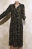 Стильное летнее платье-рубашка в растительных узорах и цветах. Літнє плаття-рубашка в рослинних узорах та квіт, фото 2