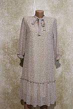 Легкое воздушное шифоновое бежевое платье с поясом. Легке літнєплаття бежевого кольору з поясом.