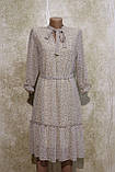 Легкое воздушное шифоновое бежевое платье с поясом. Легке літнєплаття бежевого кольору з поясом., фото 2