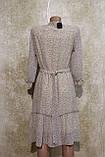 Легкое воздушное шифоновое бежевое платье с поясом. Легке літнєплаття бежевого кольору з поясом., фото 4
