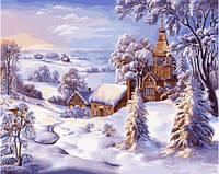 Картина по номерам  Новогодняя Рождество Зима 40x50 см., Babylon Зимний пейзаж. Худ. Виктор Цыганов