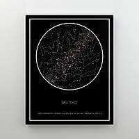 Звездная карта по Вашей дате Simple Black оригинальный подарок прикольный