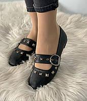Модельные женские балетки, туфли черного цвета, см.размеры в ПОЛНОМ описании товара!, фото 1