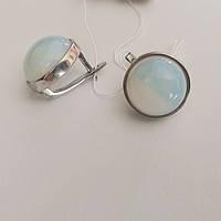 Серьги серебряные с лунным камнем  Кармен, фото 1