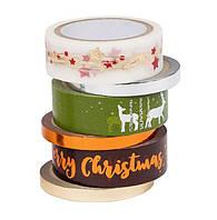 F1-00564, Декоративний новорічний скотч, клейка стрічка Crelando, набір 6 шт, , різнокольоровий