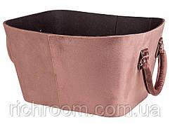 F1-01038, Кошик оксамитова декоративна для зберігання (34,5 х 28,8 х 20 см), пудра