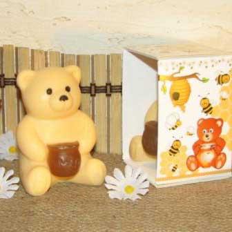 """Подарочное мыло ручной работы """"Медвежонок с мёдом"""", арт. MS-017"""