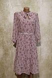Легкое воздушное шифоновое платье в цветах с поясом. Легке літнє плаття шифонове з поясом., фото 5