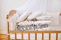 "Бортики-защита в кроватку из сатина от комплекта ""Верона"" Зверята ! сердечки ТМ Добрый Сон"