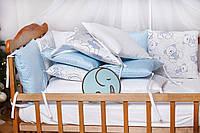 """Бортики-защита в кроватку из сатина от комплекта """"Верона"""" Голубой мишка ТМ Добрый Сон"""