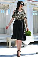 Женское платье под пояс с карманами на юбке Батал, фото 1