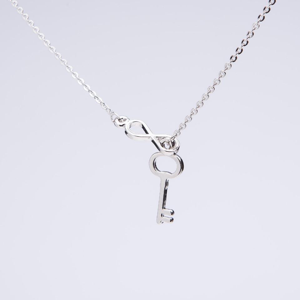 """Кулон """"Ключ бесконечность"""" на серебристой якорной цепочке, диаметр, длина 40-44см"""