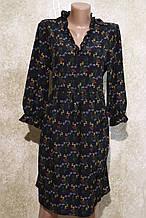 Легкое воздушное чёрное платье в цветах. Легке літнє плаття чорне у квітках.