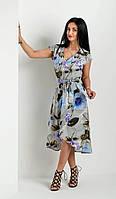 Летнее женское платье на запах под поясок, модное молодежное платье с удлиненной спинкой.