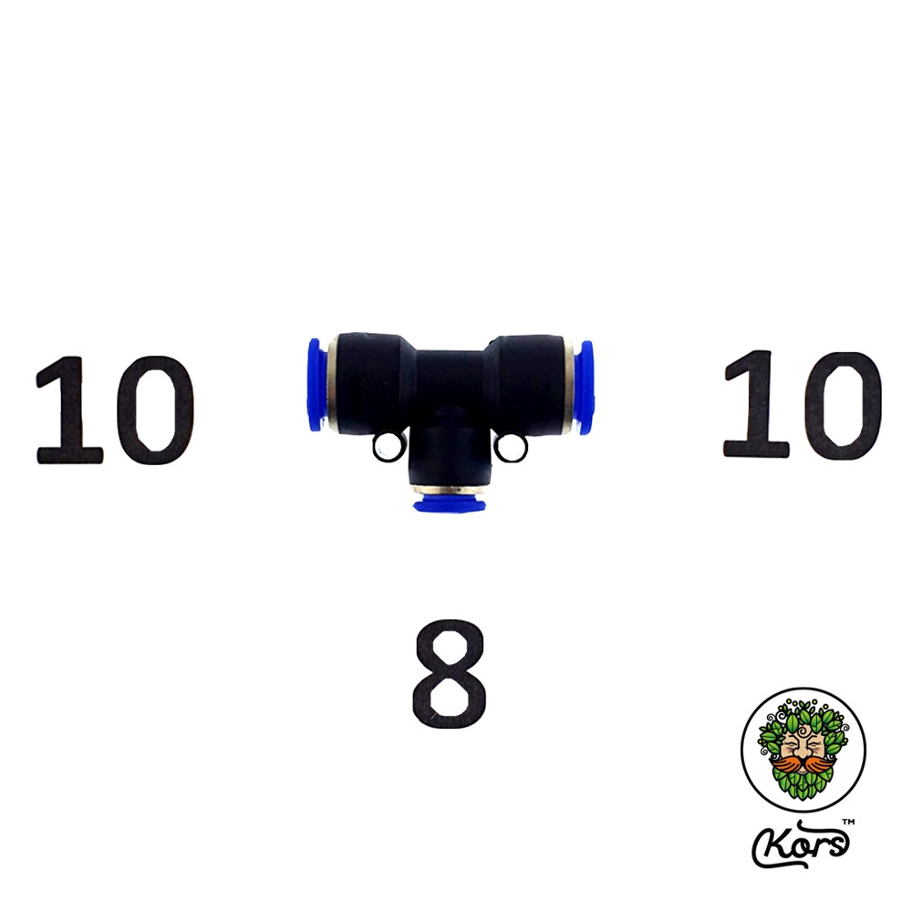 Тройник пуш фитинг Т 10-8-10 мм.