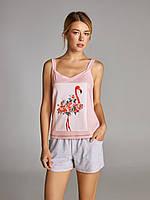 Хлопковая пижама с шортами Ellen 317/001 (ФЛАМИНГО), фото 1