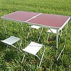 Складной стол + 4 стула в чемодане 120х60 см., фото 2