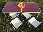 Складной стол + 4 стула в чемодане 120х60 см., фото 4